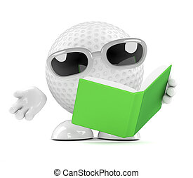 3d Golf ball reads a book - 3d render of a golf ball...