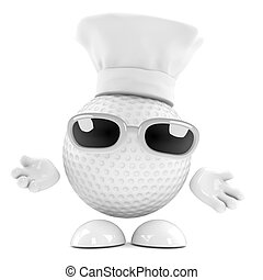 3d Golf ball chef - 3d render of a golf ball character...