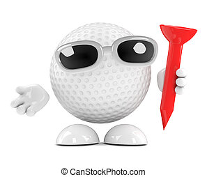 3d Golf ball with tee - 3d render of a golf ball character...