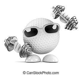 3d Golf ball exercises - 3d render of a golf ball character...