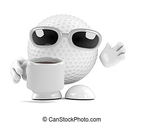 3d Golf ball tea break - 3d render of a golf ball character...
