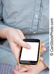touchscreen phone with cut out screen in hand