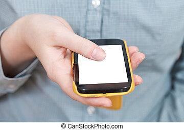 mobile phone with cut out screen in hand
