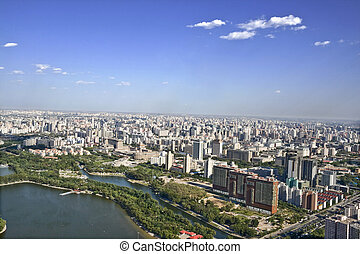 Birds eye view of beijing - panoramic view of beijing china...