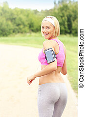 Fancy jogger in the park - A picture of a jogger with...