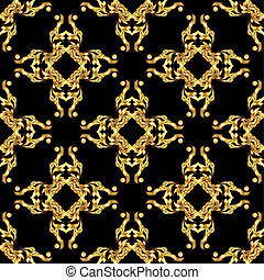 Asian golden pattern on black - Seamless floral pattern in...
