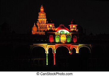 Part of Mysore Palace in India illuminated - The ancient...