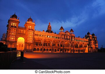 Mysore Palace in India illuminated at night - The ancient...
