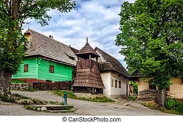 Vlkolinec traditional village in Slovakia, Europe -...