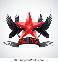 Rock star - Rock Star banner in red color with two ravens