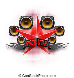 Rock star - Rock Star banner in red color with acoustic...