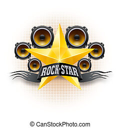 Rock star banner with golden star and acoustic speakers