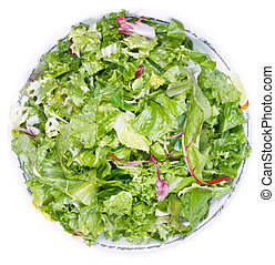 top view of fresh italian lettuce mix in bowl isolated on...