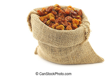 Dried Cape gooseberries (Physalis peruviana) in a burlap bag...