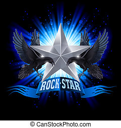 Rock star - Blue Rock Star banner with two ravens over...