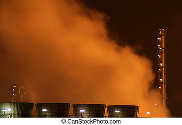 industry with fire and smoke