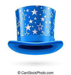 Top hat - Blue top hat with white stars on the white...