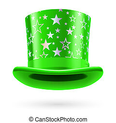 Top hat - Green top hat with white stars on the white...