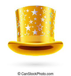 Top hat - Yellow top hat with white stars on the white...