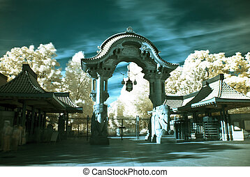 Berlin Zoo - famous elephant gate at the entrance to the...