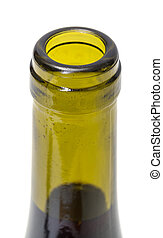 Opened Wine Bottleneck, closeup on white background