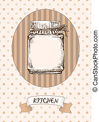 Kitchen design Jar on a striped background