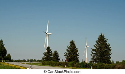 Two windmills and pine trees beside the road