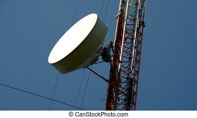The circular dish from a GSM tower - The circular white dish...
