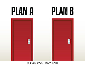 plan A plan B option doors illustration design over a white...