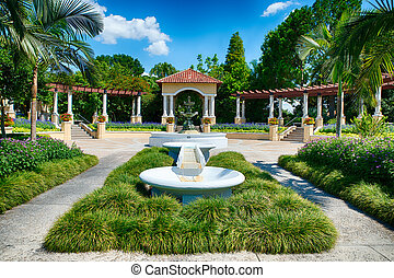 Fountain at public park in Lakeland, Florida