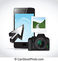 phone camera and picture illustration design over a white...