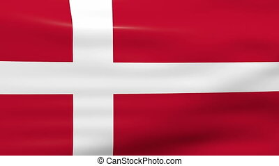 Waving Denmark Flag, ready for seamless loop