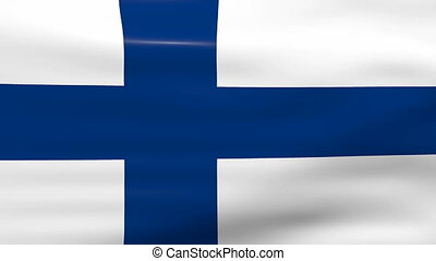 Waving Finland Flag, ready for seamless loop.