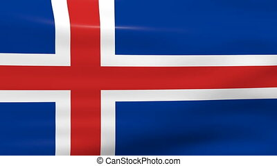 Waving Iceland Flag, ready for seamless loop