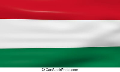 Waving Hungary Flag, ready for seamless loop.