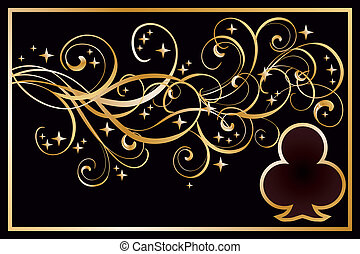 Casino clubs golden card, vector illustration