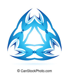 Graphic element - Graphic blue element of triangular shaped...