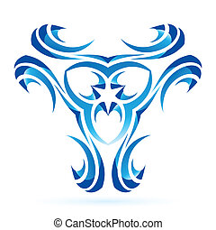 Graphic element - Graphic abstract blue element on the white...