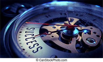 Success on Pocket Watch Face. Time Concept. - Success on...