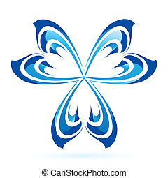Graphic element - Graphic abstract branched blue element on...