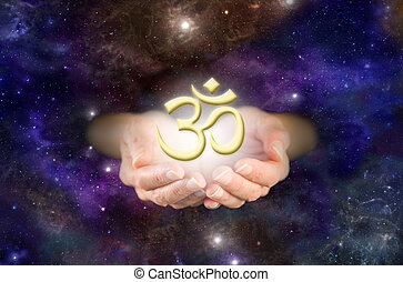 Om - The Sound of the Universe - Cupped hands emerging from...