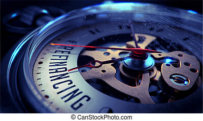 Refinancing on Pocket Watch Face. Time Concept. -...