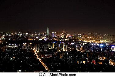 beijing night scene - Night scene panoramic view of beijing...