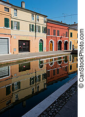 Reflections in Comacchio - Channel in the center of...