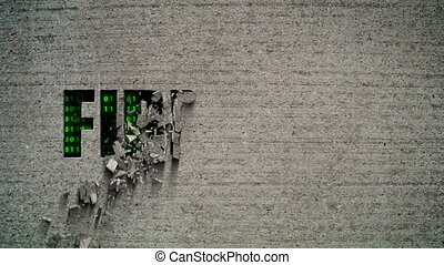 Firewall Crumbling Wall - Crumbling wall revealing a green...