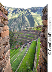 Ollantaytambo, old Inca fortress in the Sacred Valley in the...