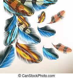 Background with colorful feathers - Vector illustration with...