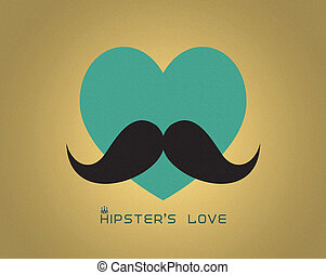 Heart with mustache - Hipster background Raster illustration...