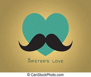 corazón, bigote