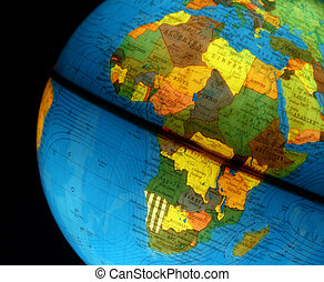 Africa on Globe - globe of the world with many countries